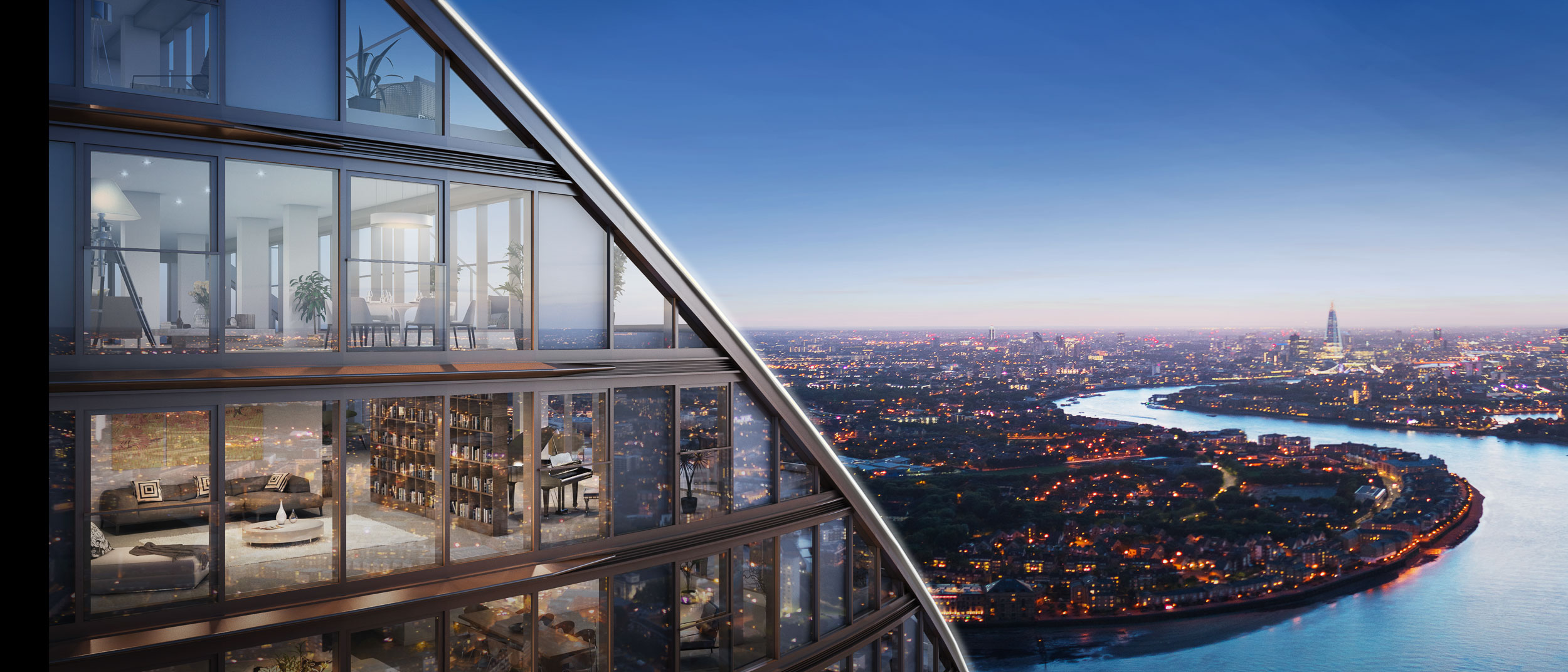 The skyscraper has incredible views of London. Penthouses line the top the building, each with private terraces facing the setting sun to the west.