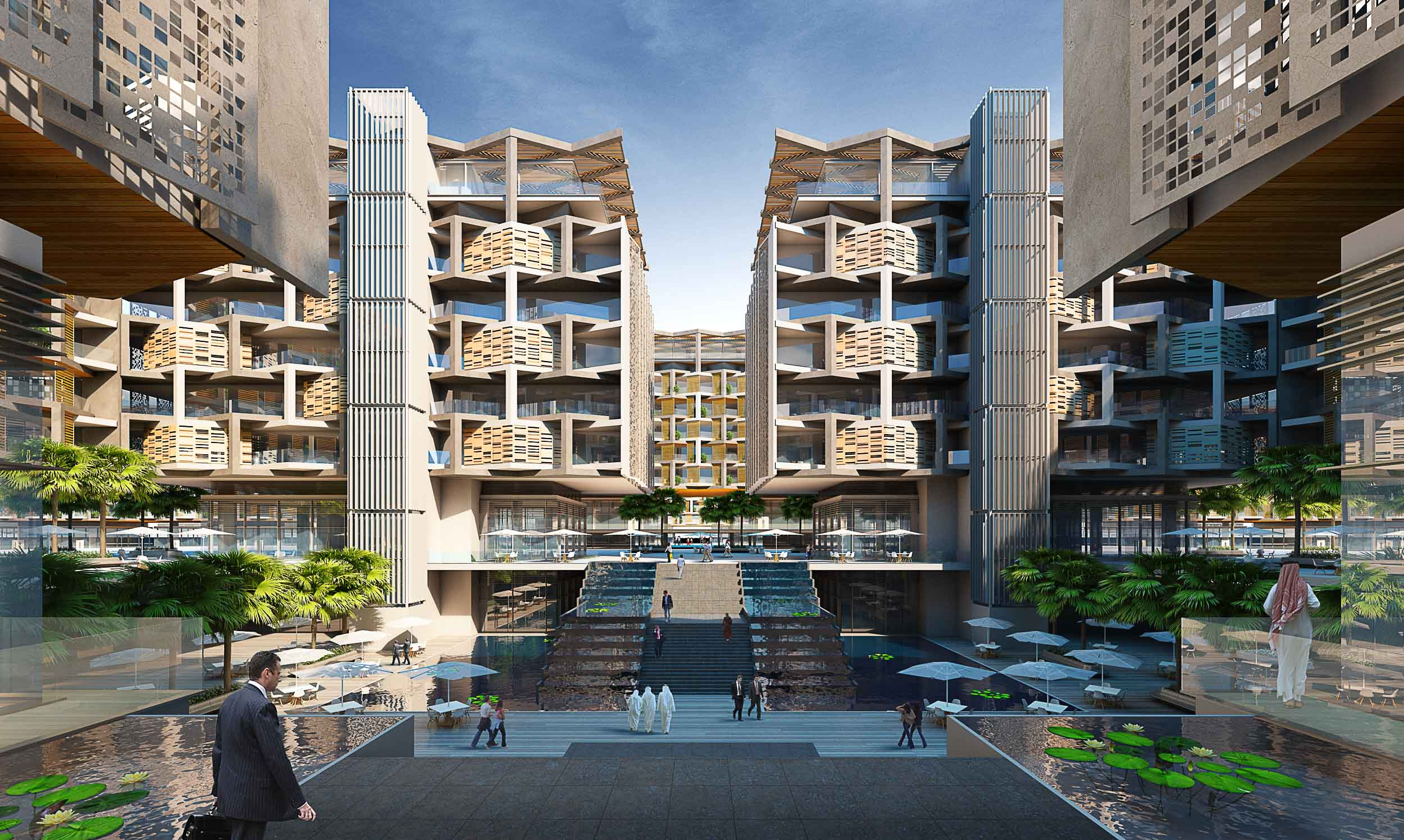 The urban oasis. Shaded courtyards form the heart of the fare inspired buildings creating relaxing gardens for local residents. Modern architecture, middle eastern vernacular design.