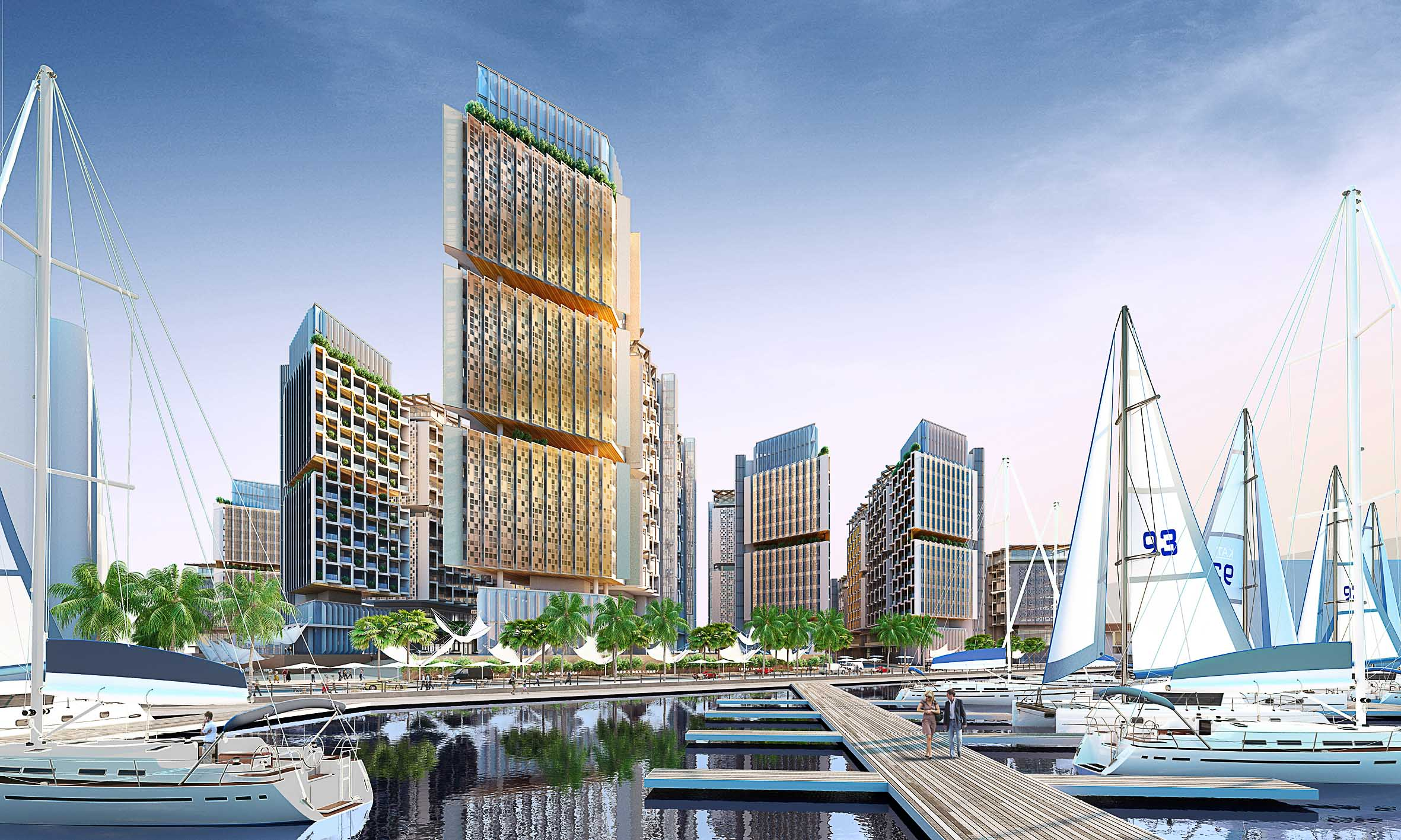 CGI  CGI by Team M acarie of the luxury Marina. The avenues all lead down to a public promenade on the waters edge.