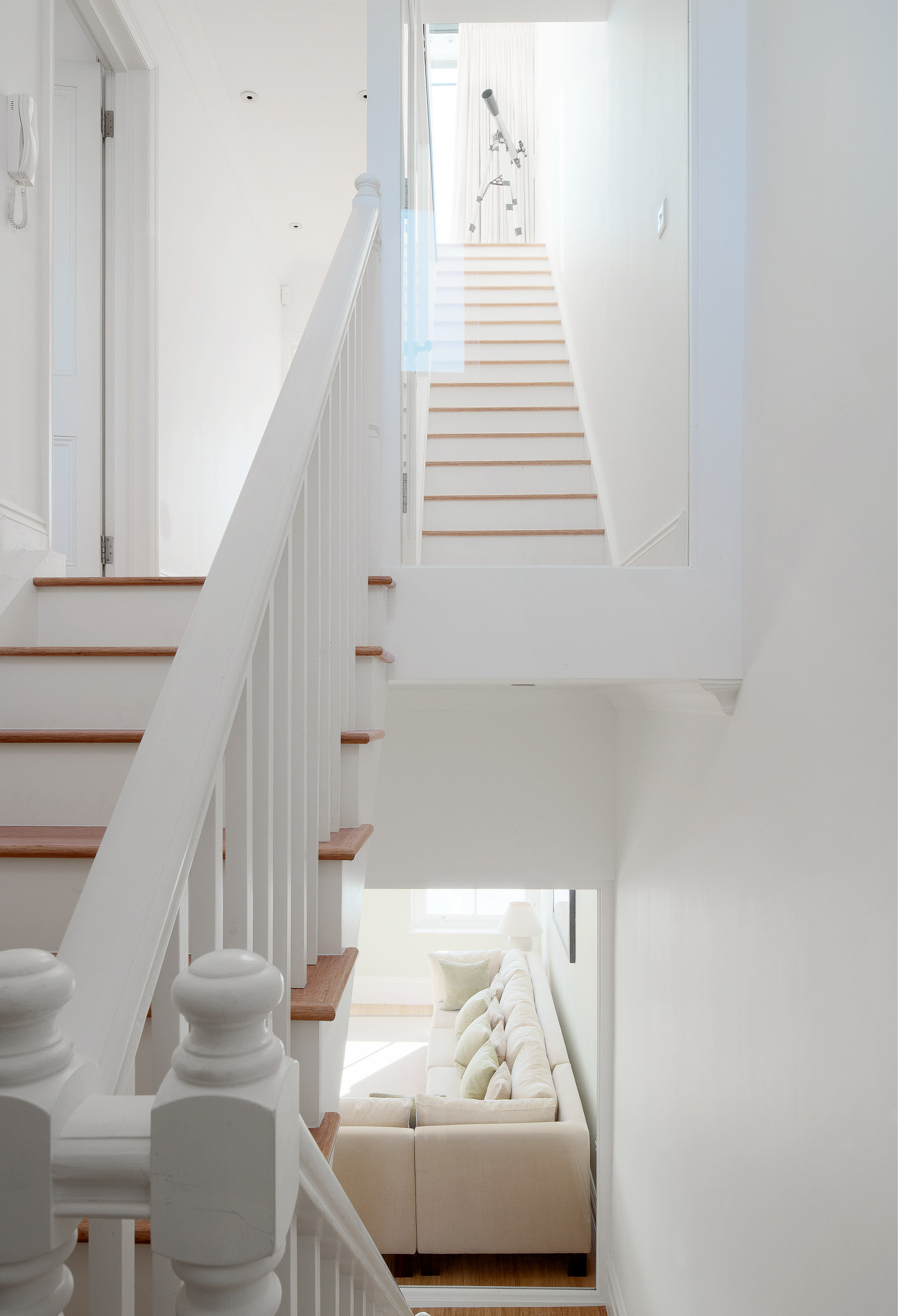Staircase throughout the house creating a dynamic visual connection between all the spaces.