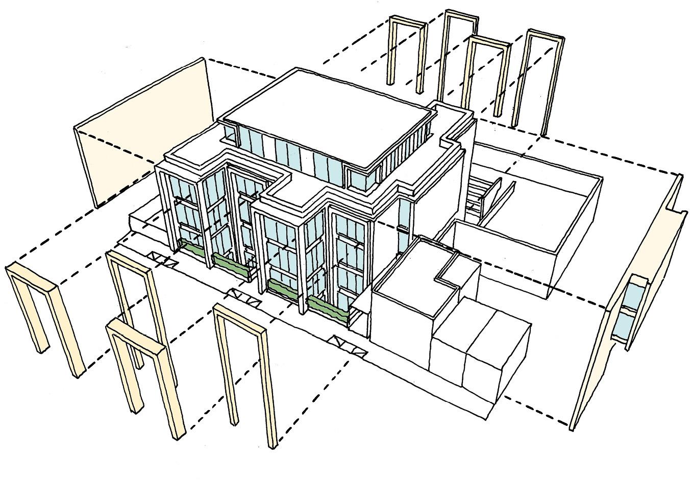 Axonometric sketch explaing the key Portland stone elements to the building.