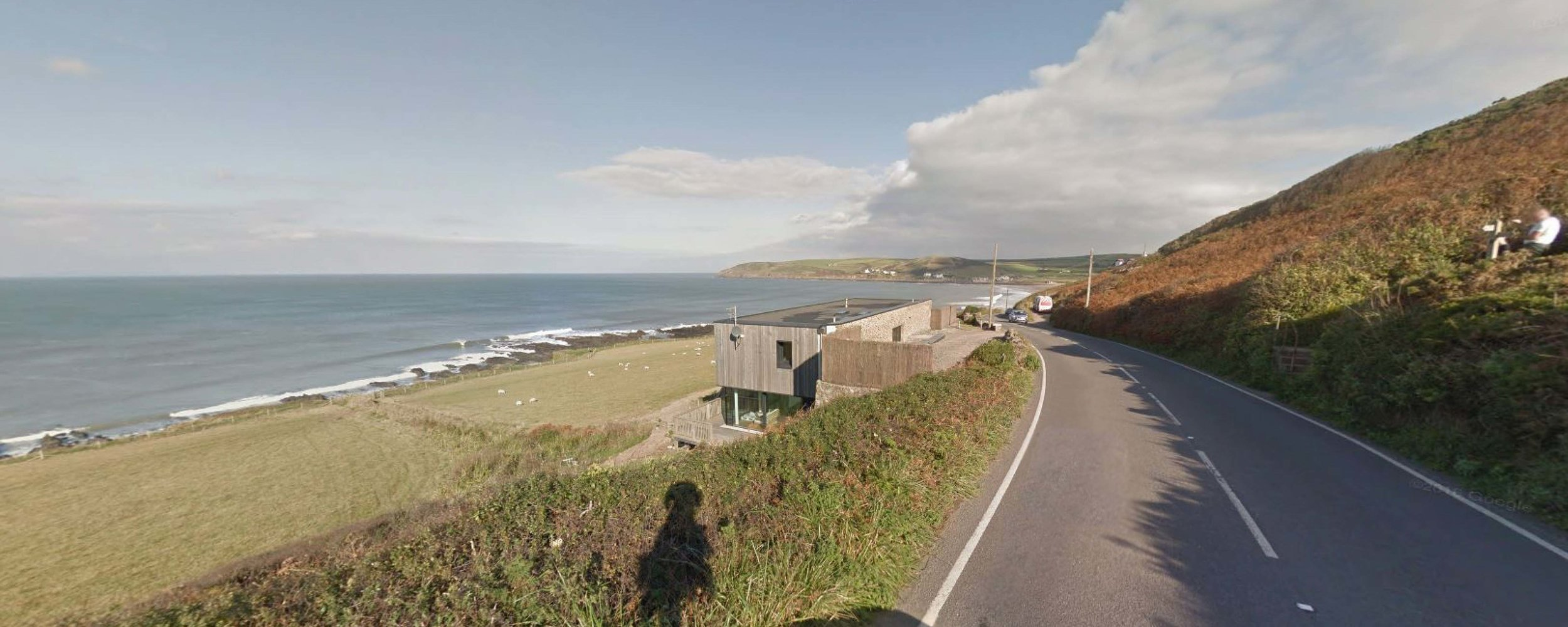 Looking north, the property viewed from the Croyde Road