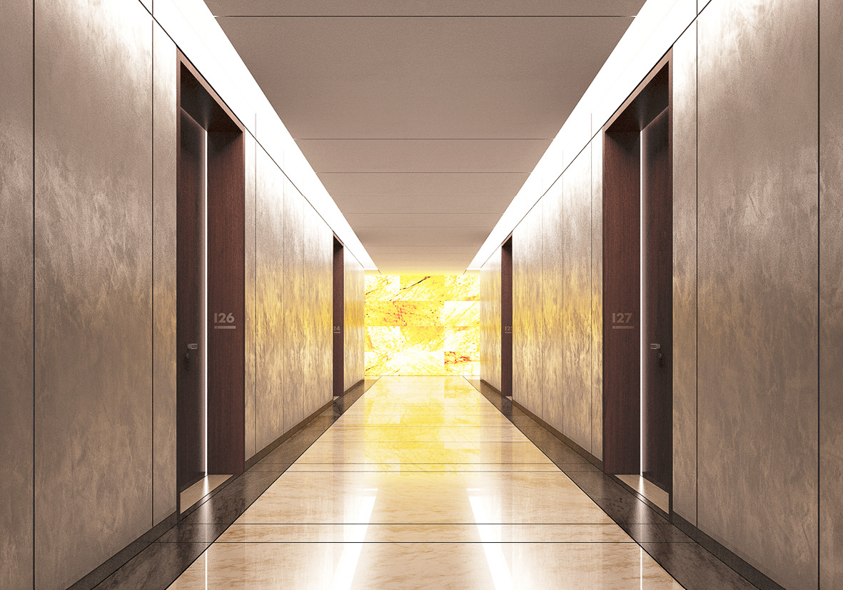 The corridors of the development use marble tiles and dark wooden frames with subtle lighting. These high end materials create a high end finish and and cost effective construction price for the project.