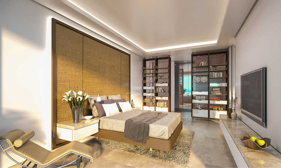 The spacious luxury bedrooms for the Maryah Plaza apartments. Recessed lighting creates a subtle mood with middle east inspired materials throughout.
