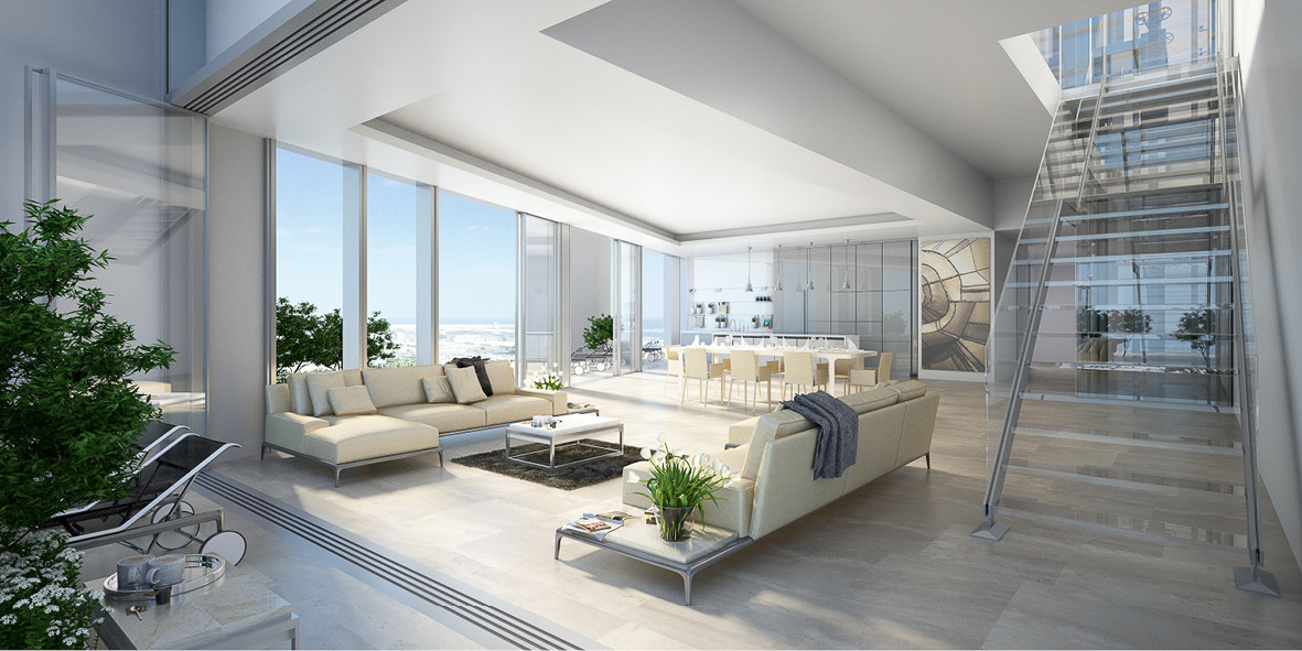 These triplex penthouses are the ultimate in quintessential living. Glass straicses allow light to penetrate the whole floor. Large living spaces and enormous terraces blur the boundary between the inside and outside.