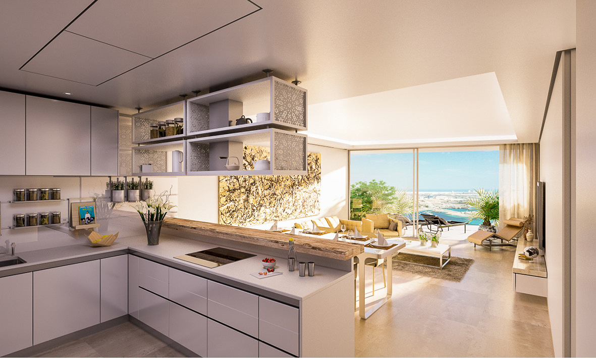 The kitchens for Maryah Plaza all form part of an open plan living space for each apartment. The apartments all have their own private terrace and waterfront views from Maryah Island.