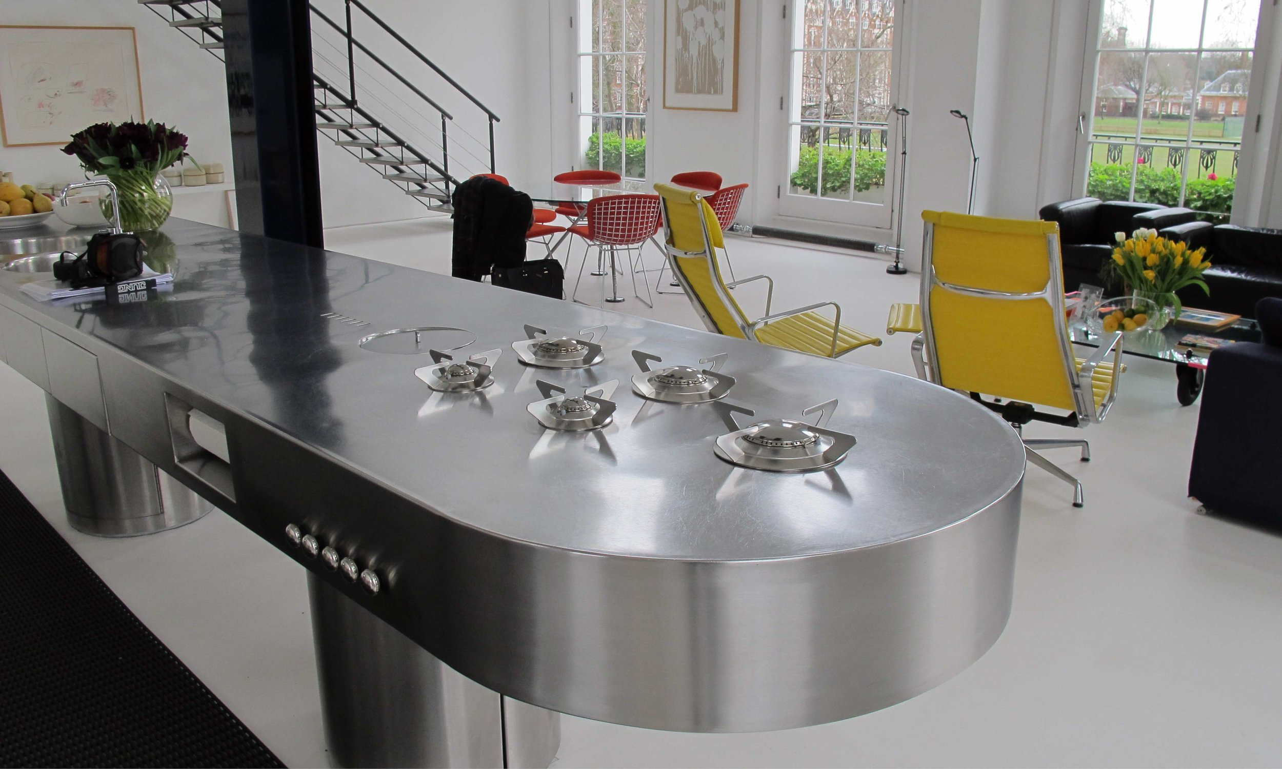 The kitchen. Polished stainless steel. Elegance and efficient in design.