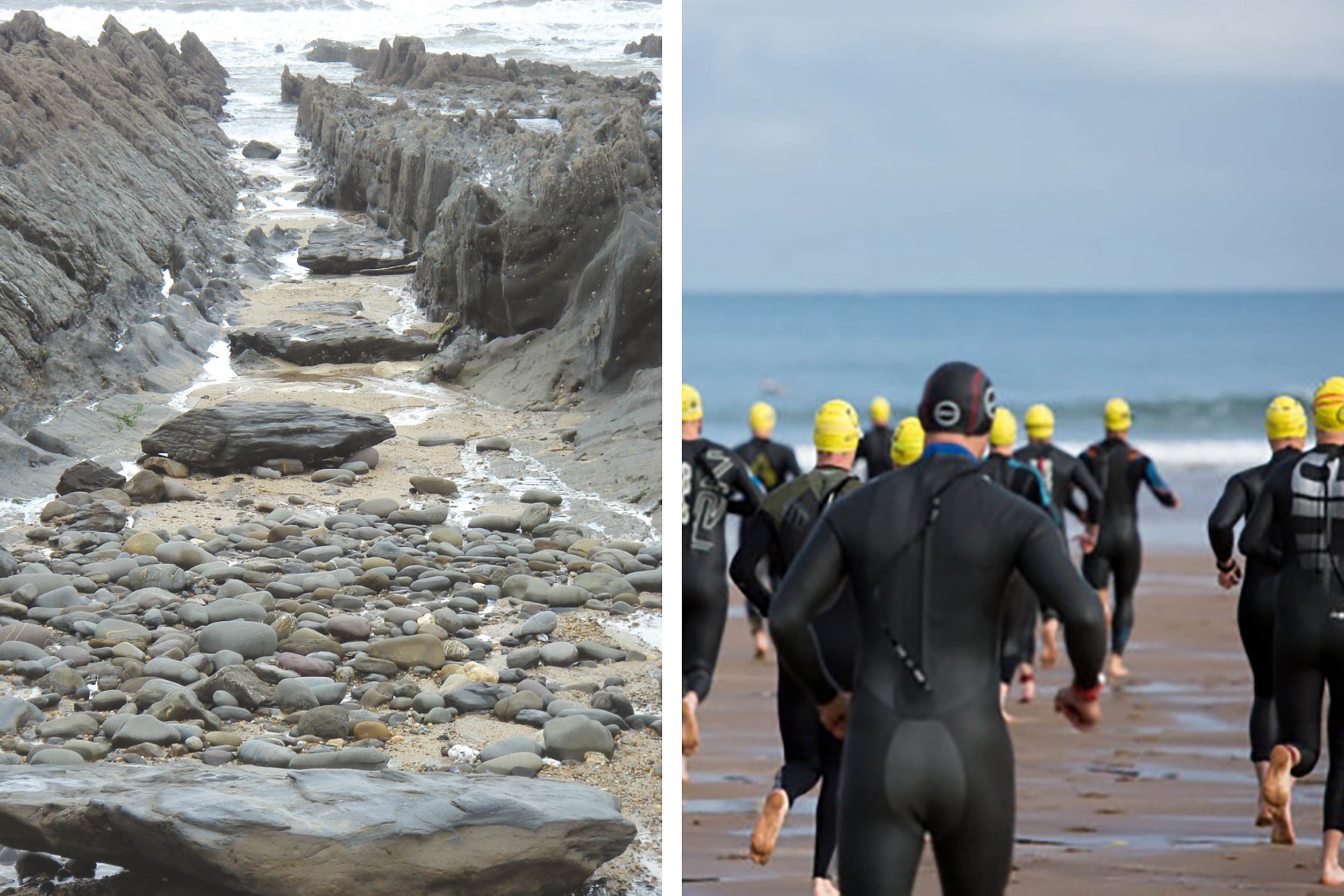 The north Devon coast, rock pools and surfers