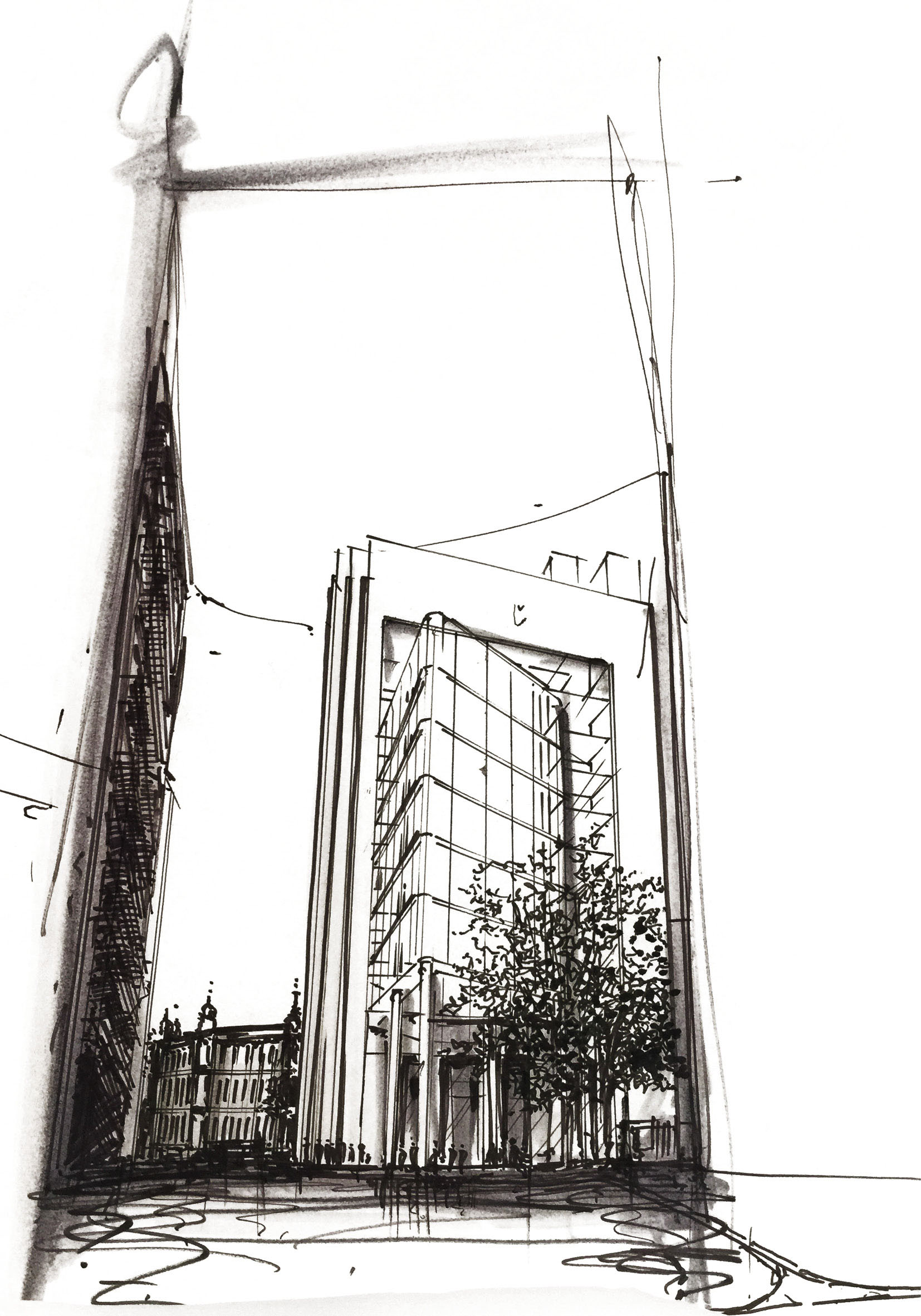 This concept sketch of the rear building elevation show the building stepping up in height to its peak,