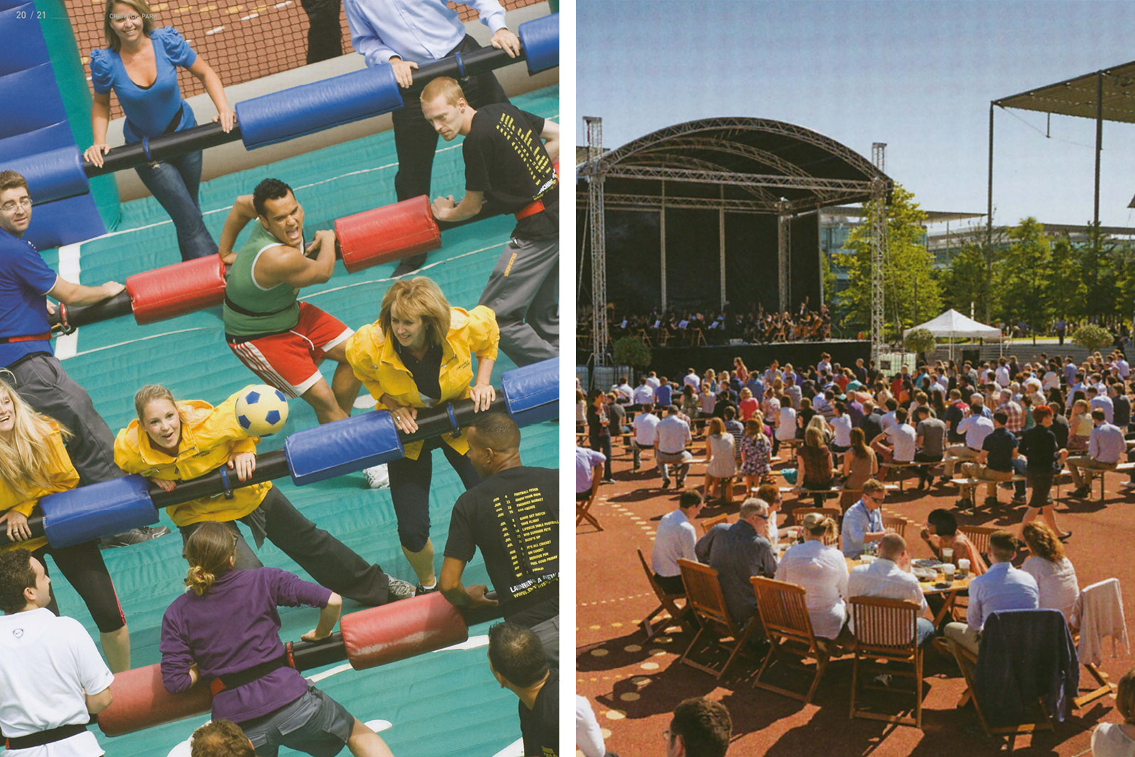 Chiswick Park - Enjoy work - activities invlude tehatre and music poerformaces. Human table football