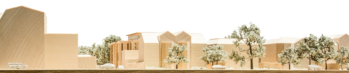 Elevation photograph of the architectural model along Chatsworth Way. The modern contemporary development for Elemento contains a set back fought floor to minimse the impact on the street.