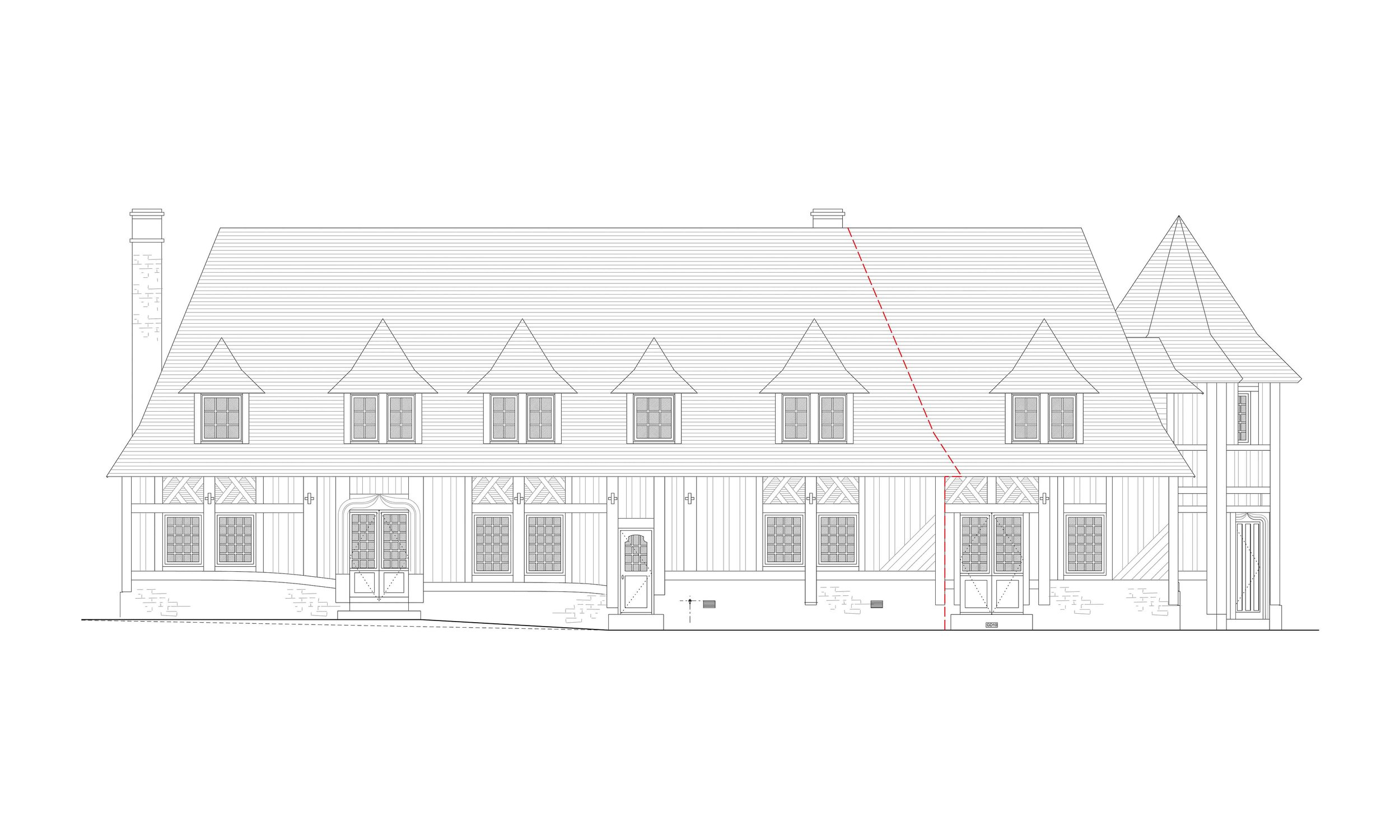 Front elevation.- architectural drawing - this period house has extended the floor plates and had an additional floor added in the form of a basement