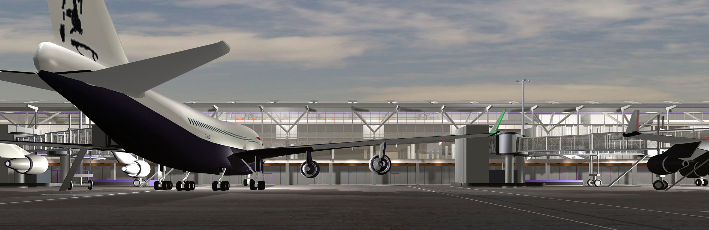 CGI of the aircraft stands for one of the Terminal 5 satallitle terminals.