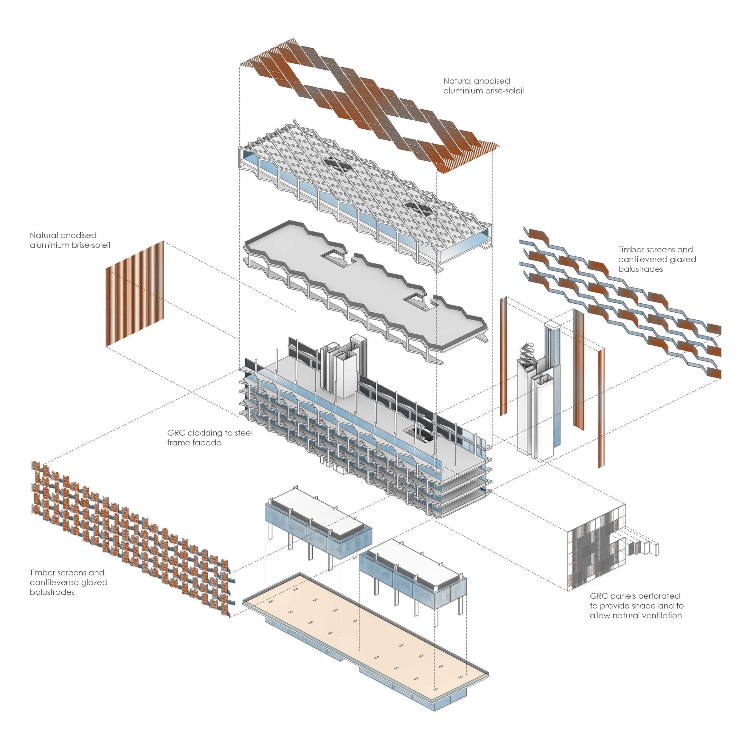 Exploded axonometric of the building showing the key construction components that make op the retail spaces,apartments and penthouses.