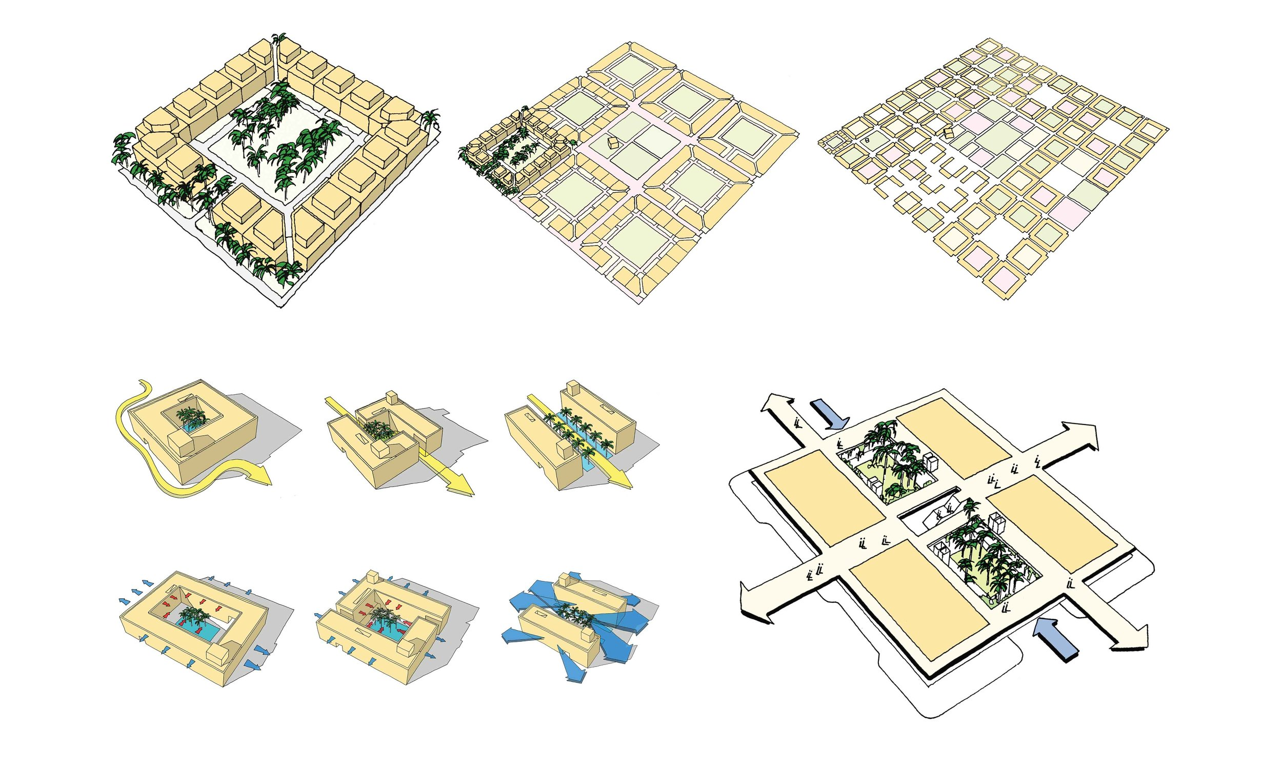Diagrams demonstrating the Fareej inspired buildings for the concept for the masterplan.