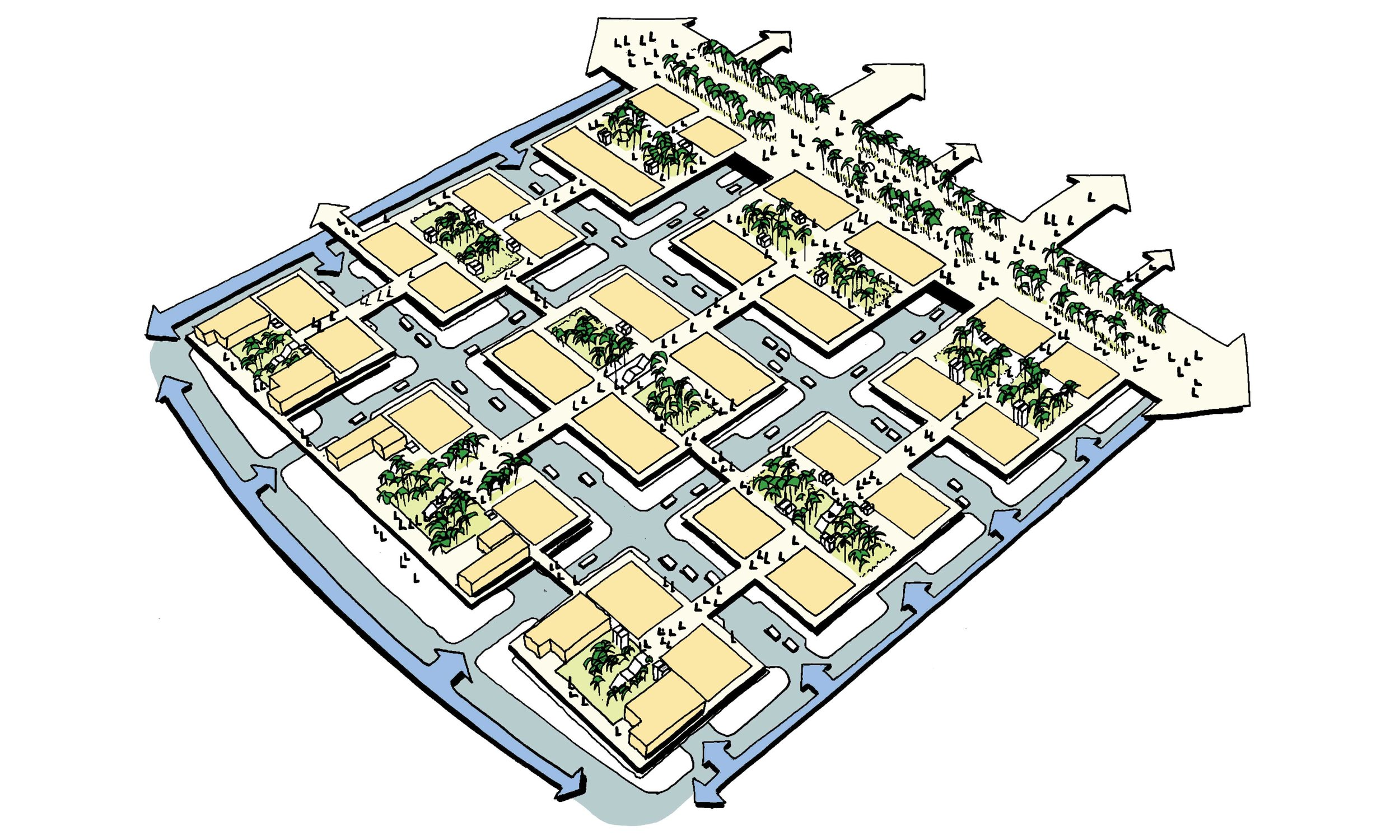 The fareej inspired buildings come together to form distinct communities within the masterplan.