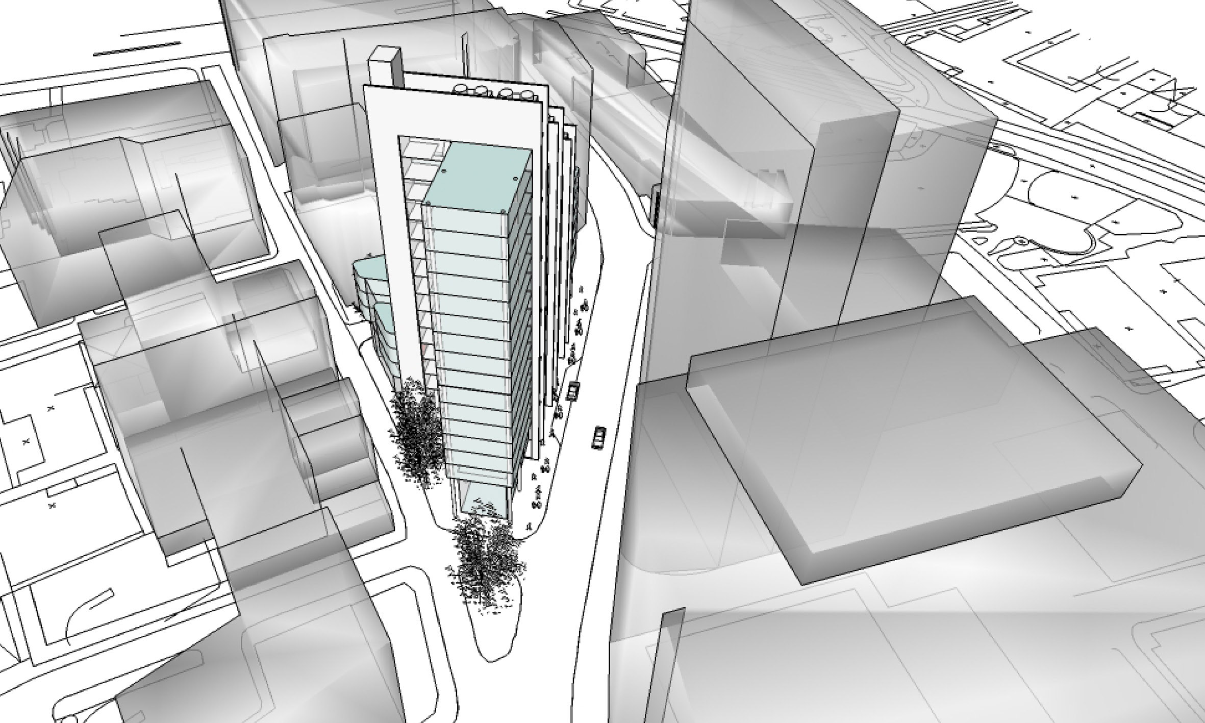 3D model - front view - New Fetter Lane - Square Mile - Modern Architecture