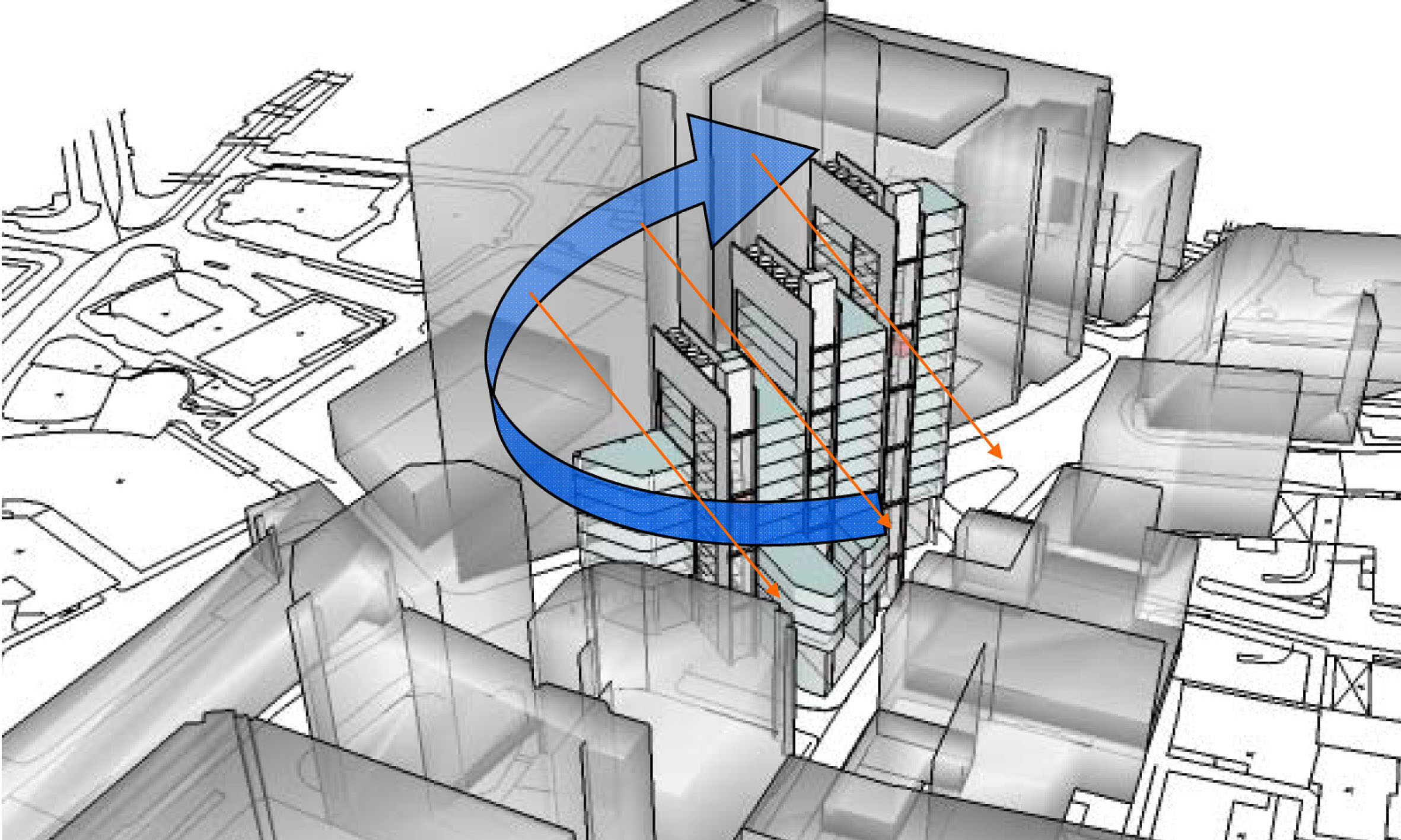 This 3D model diagrams shows the deisign rationale behind the building's porposed height.