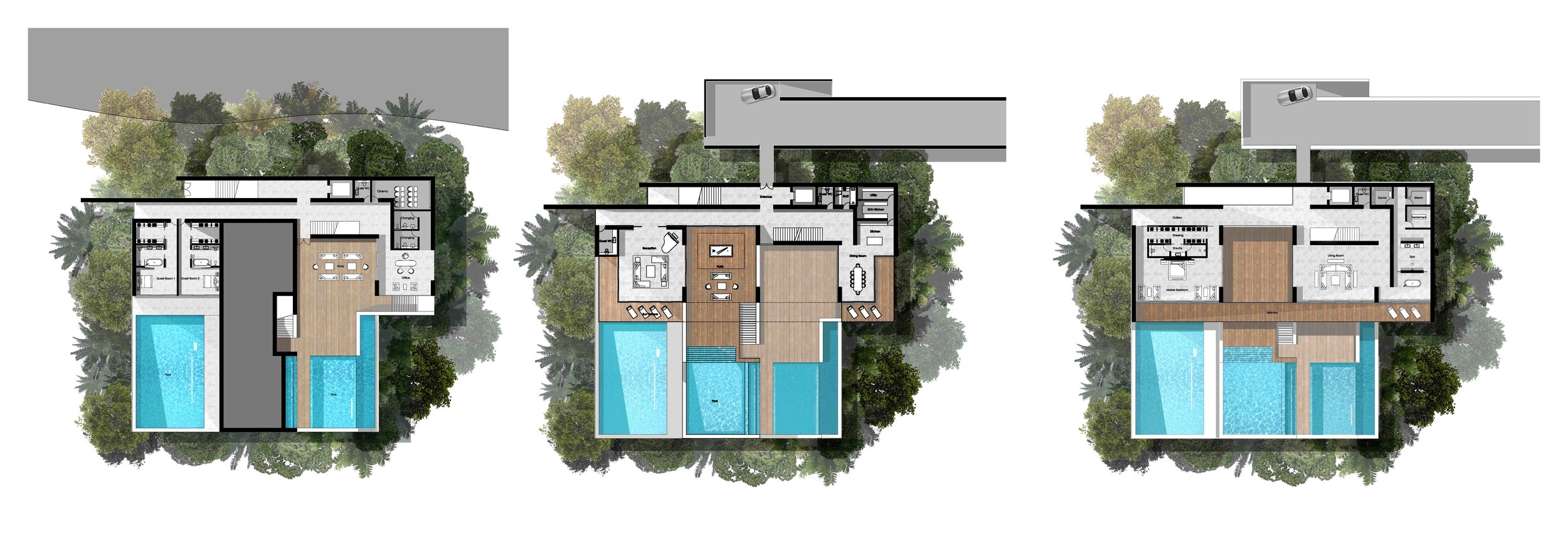 Floor plans for the first villa concept - includes a trio of swimming pools, gym, spa, dining room, kitchen, staff quarters and enormous bedrooms with en-suites and storage and wardrobe space