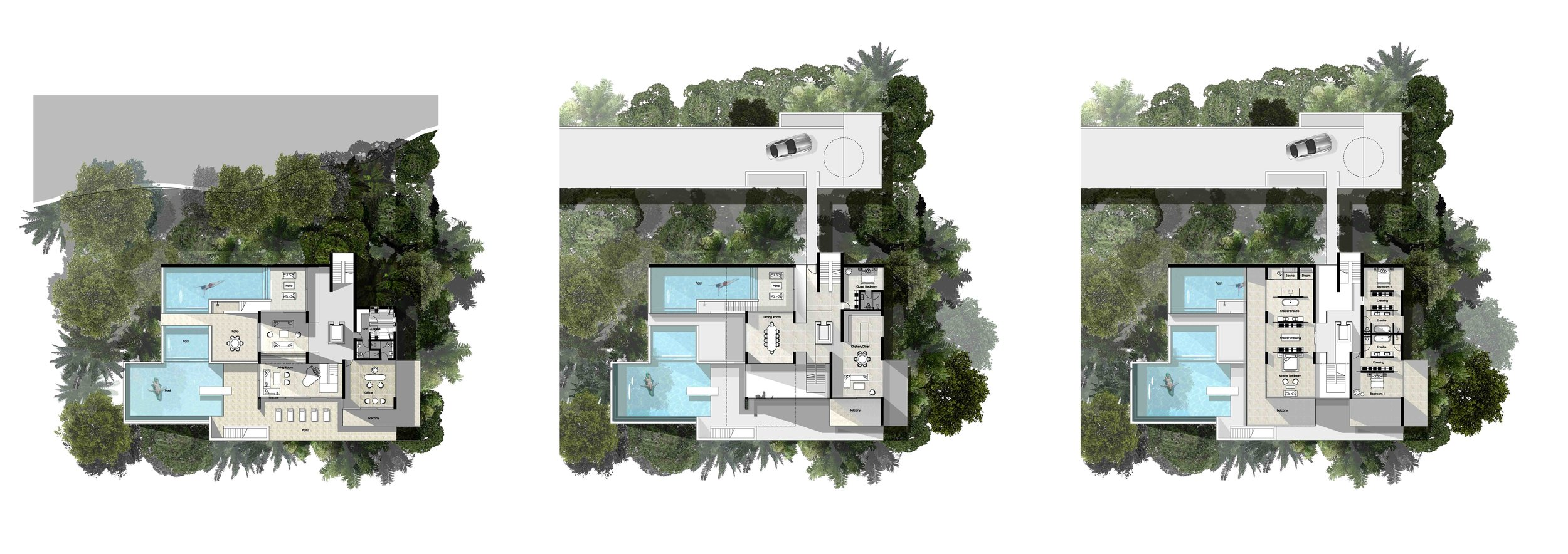 Floor plans for the second villa concept - includes a trio of swimming pools, gym, spa, dining room, kitchen, staff quarters and enormous bedrooms with en-  suites and storage and wardrobe space