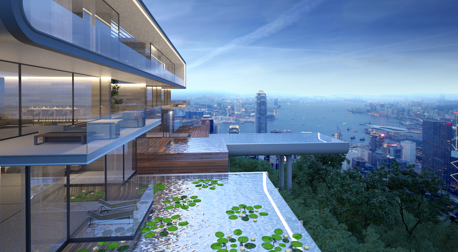 CGI of the first villa concept. The swimming pools overhand the Hong Kong Jungle with breathtaking views down over Victoria Harbour.