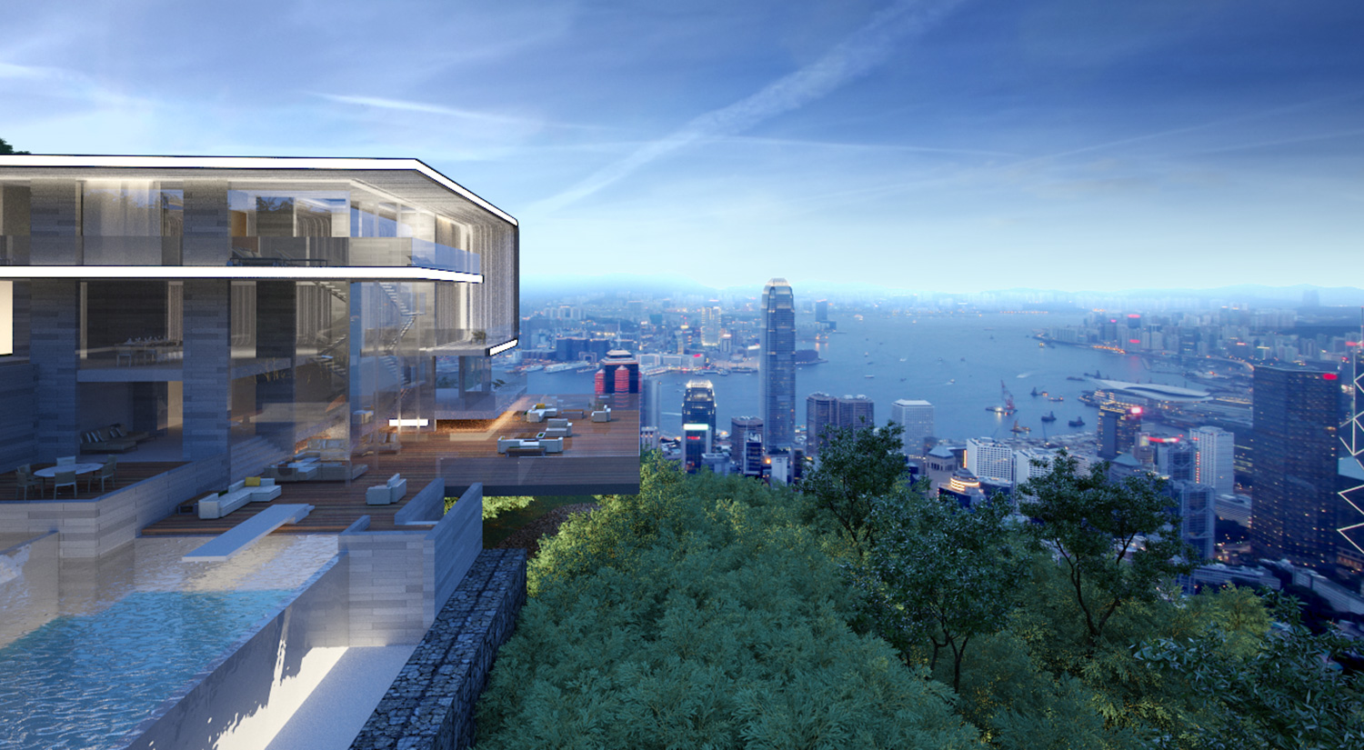 The second Villa concept - the pools face the mountain and a terrace from the main living space creates an our door living area which cantilevers over the jungle with stunning views down from the peak to Victoria Harbour