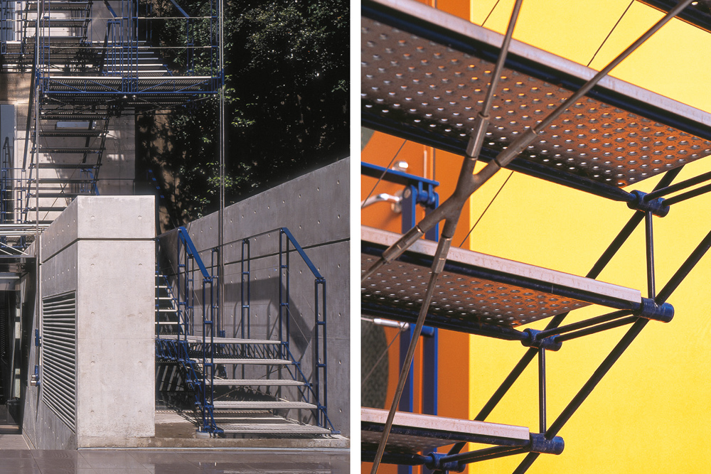 The fire escape staircase. Made of steel and tensioned with cables.