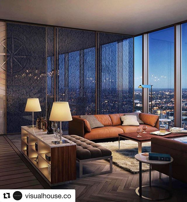 Another fantastic #Repost from @visualhouse.co ・・・ #residentialarchitects #residentialtower #londonarchitects #riba #tower #london The club lounge at The Spire Canary Wharf, London. One of the amenities in this impressive new development. Designed by @stuart_forbes_associates #visualhouse