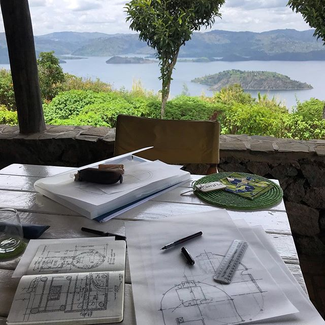 Today's view from the 'office' window here in the amazing Virunga lodge, Rwanda. Hard to beat! #rwanda #volcanoessafaris #londonarchitects #mostamazinglocations #virunga #gorillainthemist