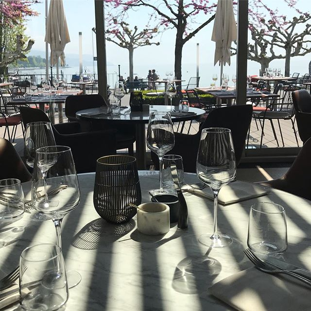 What a view! The new dining room and terrace @57grill, Chateau d'Ouchy, Lausanne. #chateauduchy #Lausanne #switzerland #57grill #newrestaurant #completedproject #grill #restaurantarchitects #londonarchitects #riba #tableview #lakeview #diningexperience