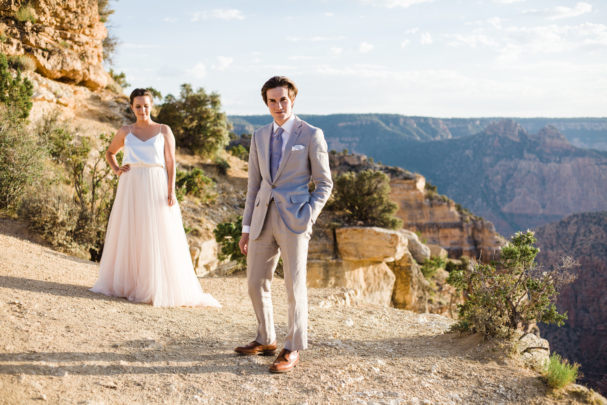 Grand Canyon bride and groom portrait
