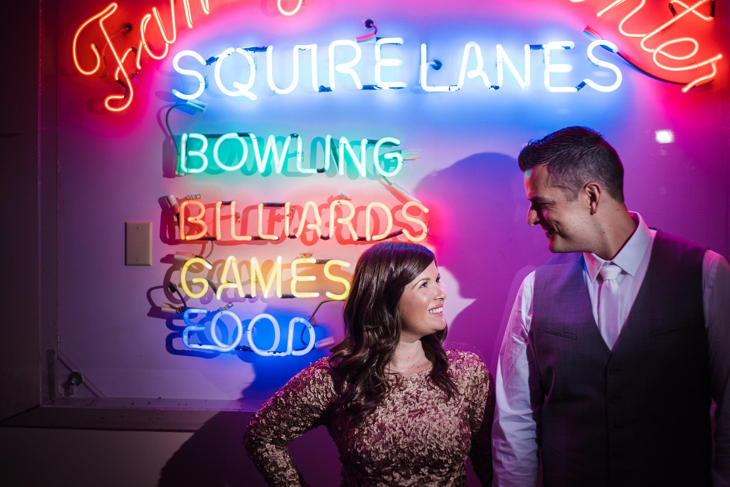Bowling alley wedding reception