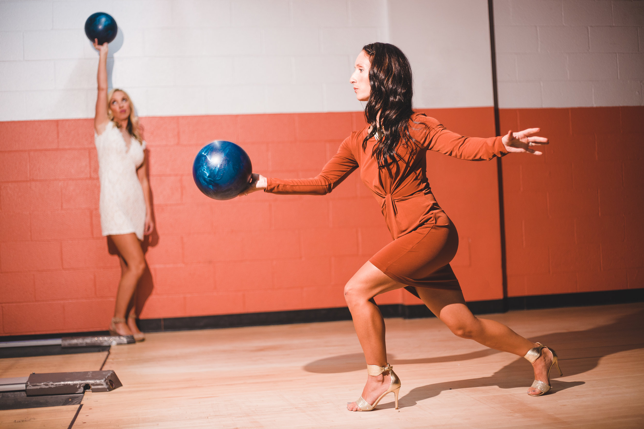 Wedding reception Bowling in heels.