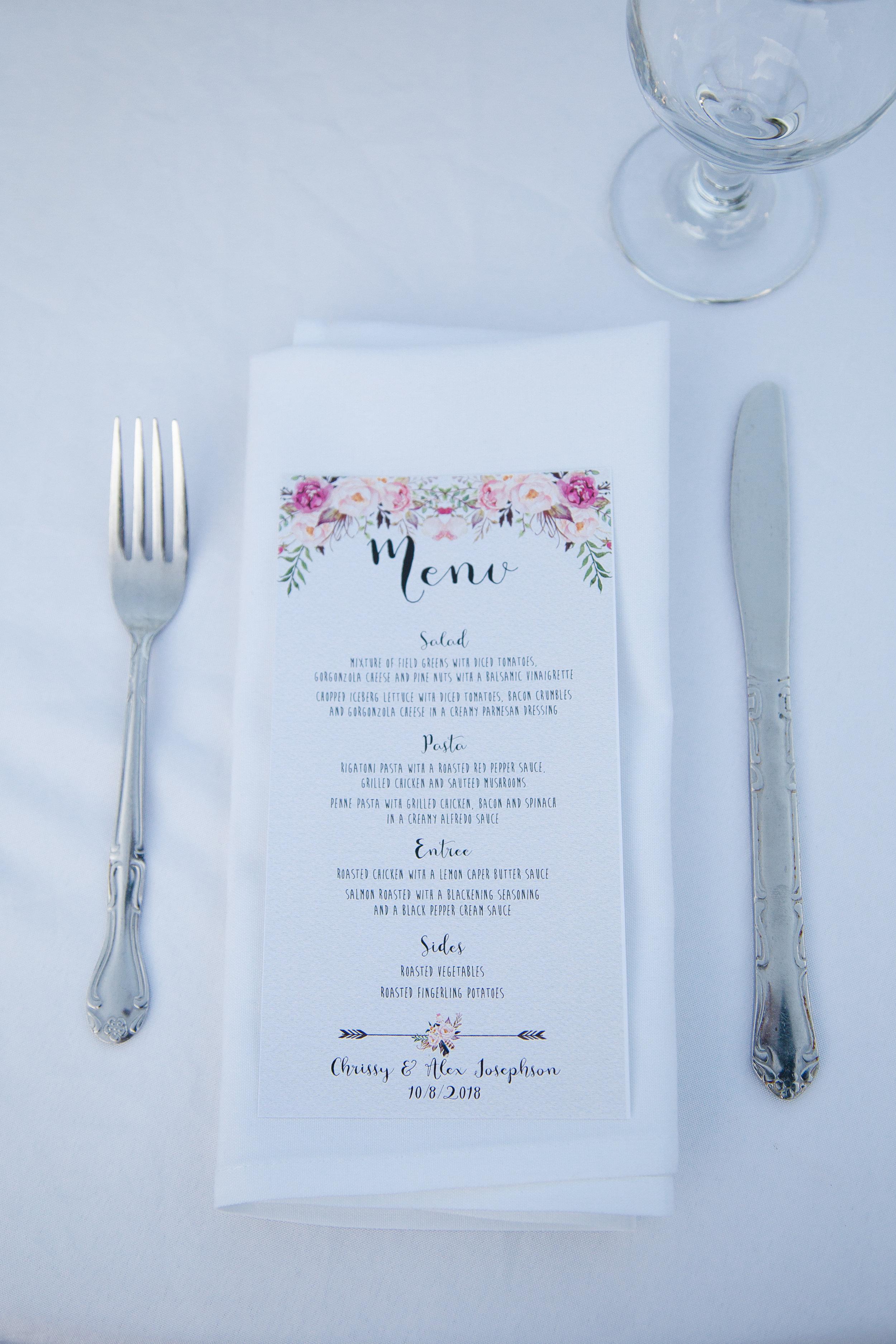 Wedding reception details at Chateau de Vie