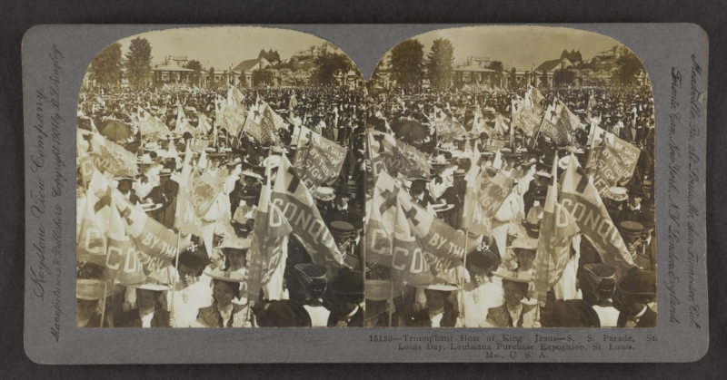 """Triumphant Host of King Jesus--S.S. Parade,"" Louisiana Purchase Exposition, St. Louis, Mo. Underwood and Underwood, 1904."