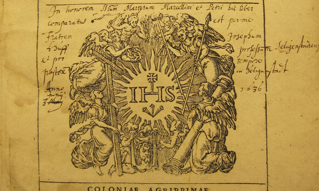 Title page of Peter Thyraeus's   Daemoniaci   (1598). Saint Louis University Rare Books and Special Collections.