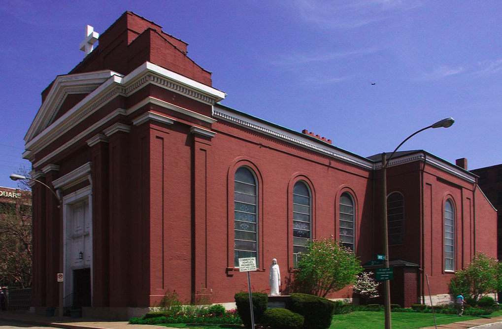 Exterior of St. Mary of Victories Catholic Church, St. Louis, Mo.