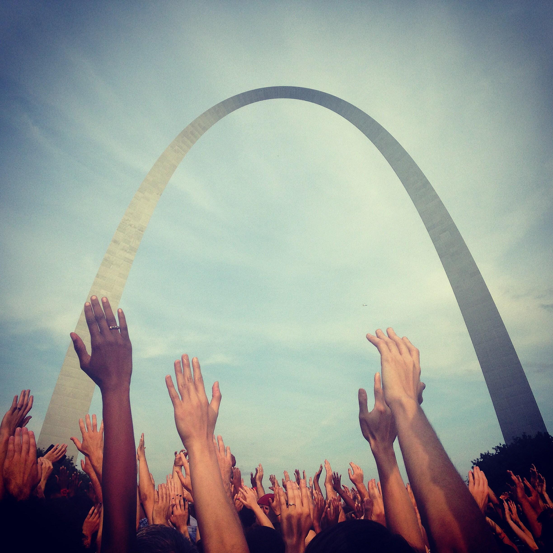 Civil protest at the Gateway Arch, St. Louis, Mo. August 14, 2014. Laura A. Schatzman.
