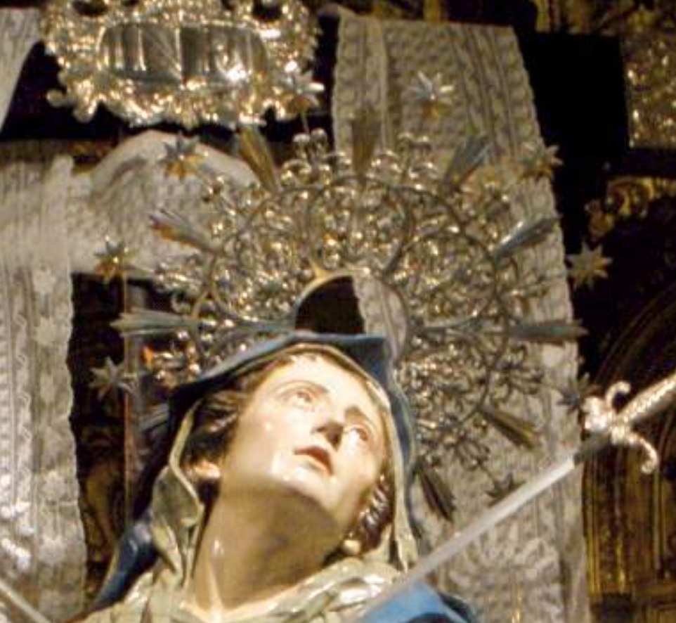 """""""Seven Swords Piercing the Sorrowful Heart of Mary in the Church of the Holy Cross."""" Salamanca, Spain. (Close-Up)"""