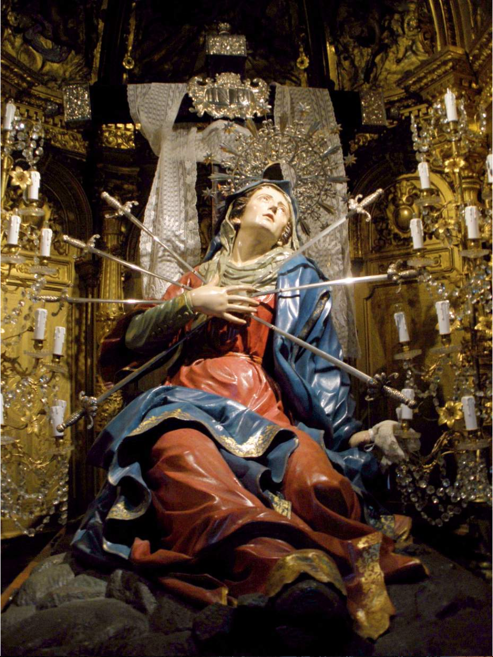 """""""Seven Swords Piercing the Sorrowful Heart of Mary in the Church of the Holy Cross."""" Salamanca, Spain. (Original)"""