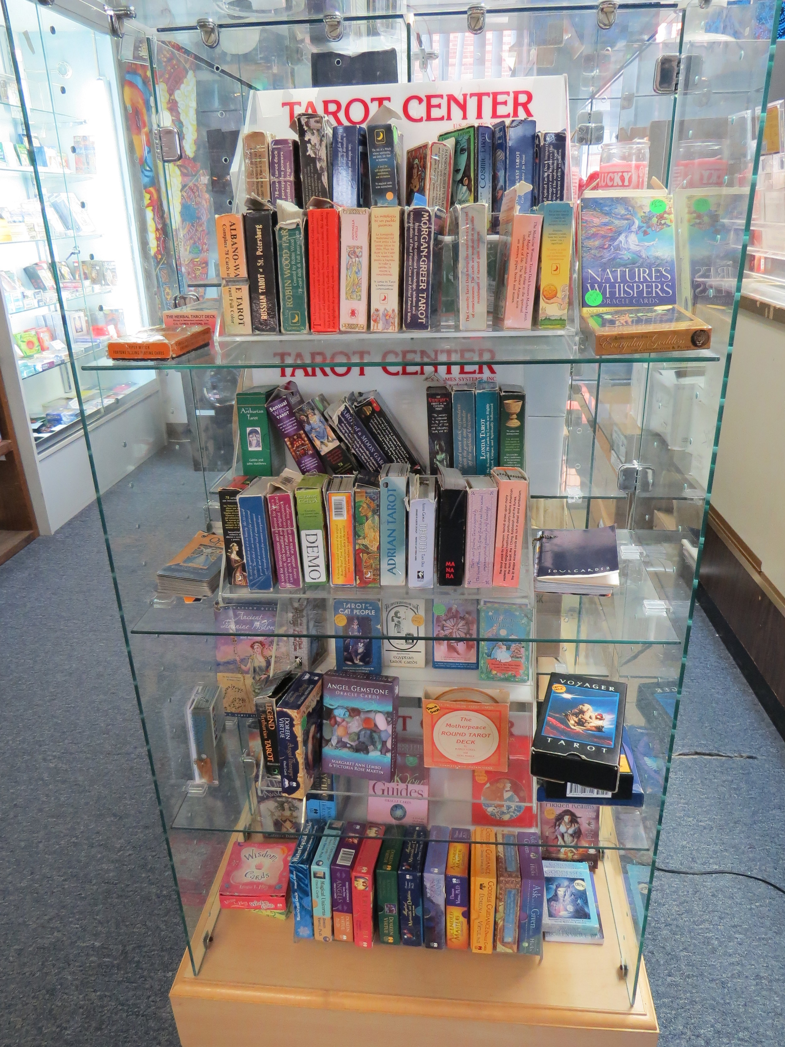 Display of tarot cards. Pathways New Age Books and Music. Photo by Diva Norton.