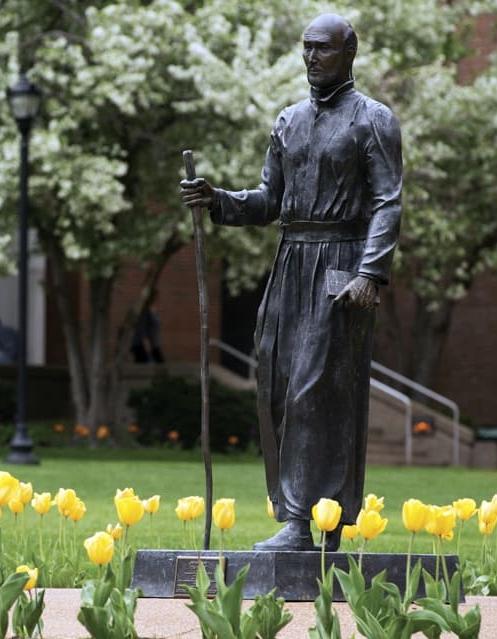 """""""The Pilgrim."""" Statue of St. Ignatius of Loyola, Saint Louis University. St. Louis, Mo."""