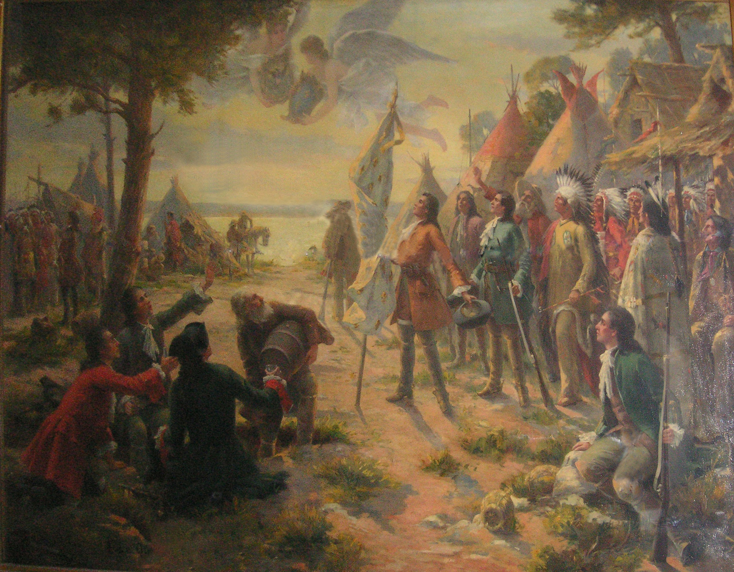 The Founding of Saint Louis  . Painting by Fernand LeQuesne, ca. 1880-1895.