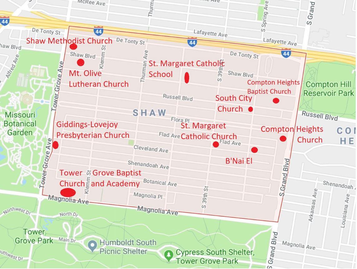 Religious bodies in Shaw Neighborhood.