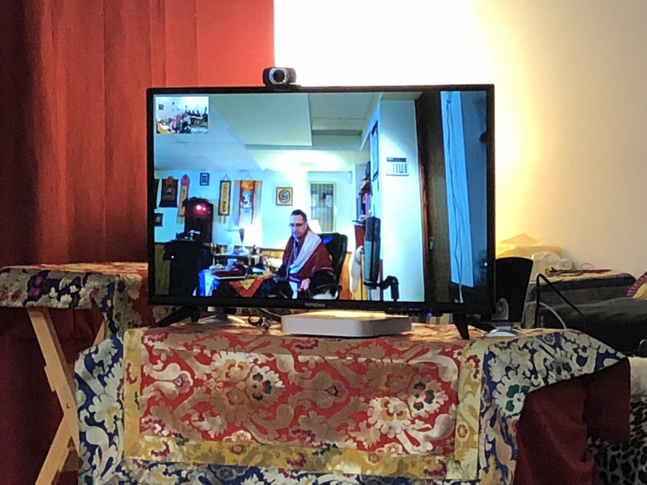 Dharma lesson via Skype. Blue Lotus Dharma Center. St. Louis, Mo.