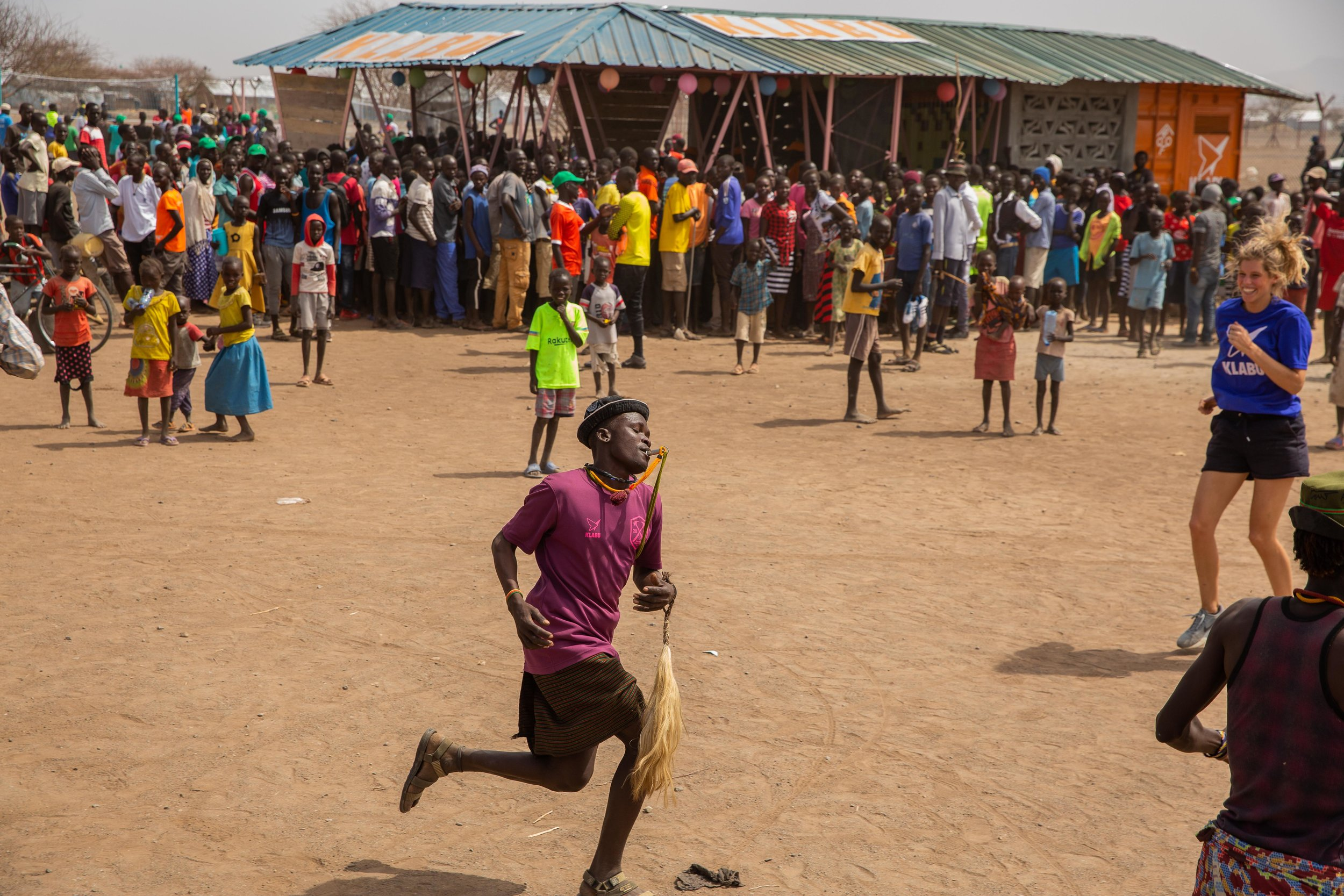 Dancing and singing, people having fun at the opening celebration
