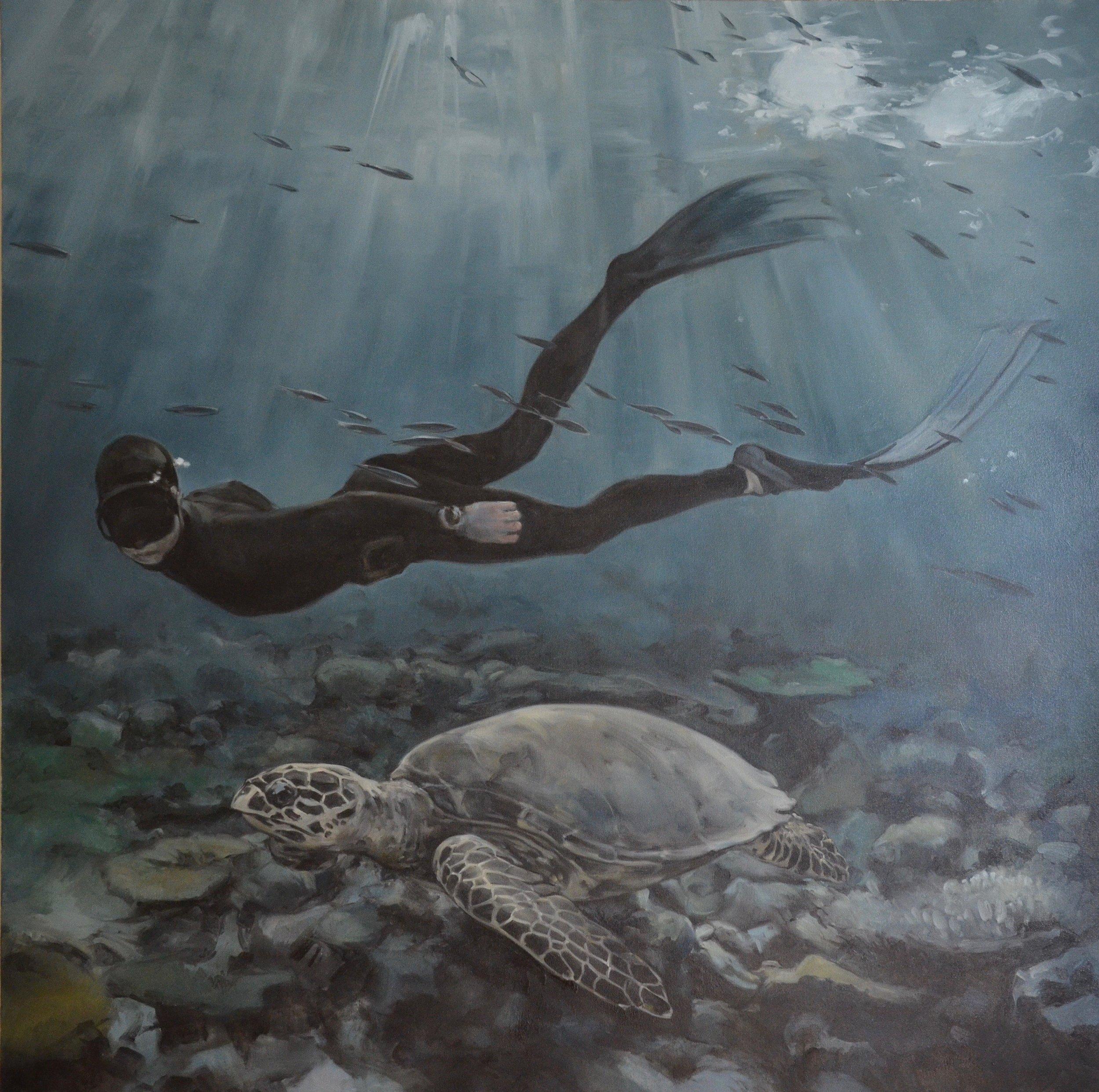 Sea Turtle & Free Diver