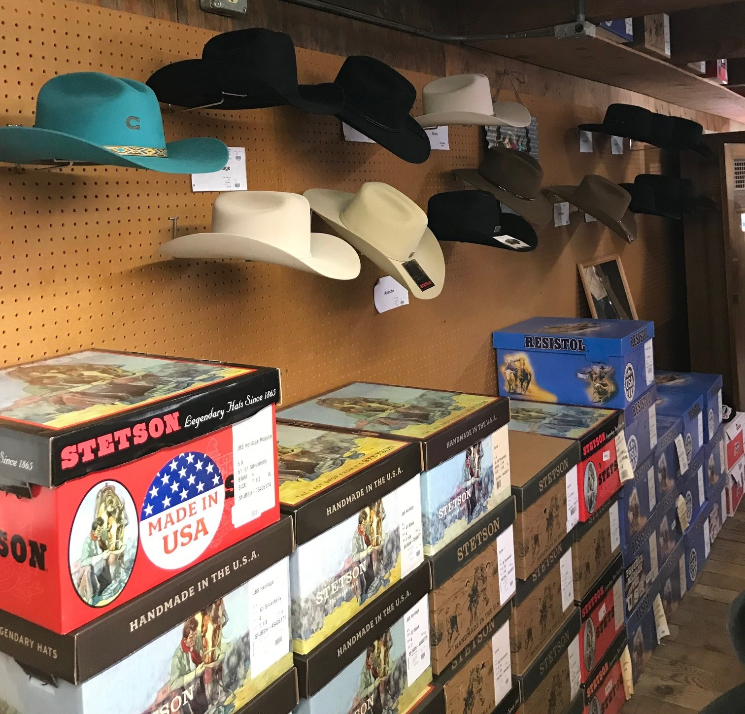 Hats; Felt and Straw  - Choose from a wide selection of hats from brands such as; Stetson, Resistol, and Justin. Many different styles, sizes, and colors to choose from year round!