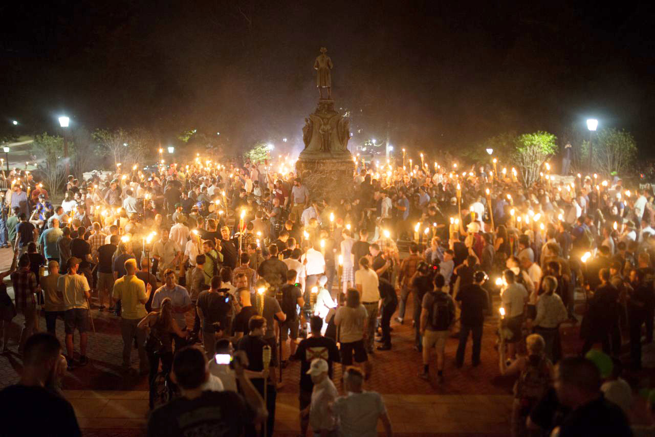 White Nationalists rally on Main Grounds during the night of August 11. Photo courtesy of Yahoo News.