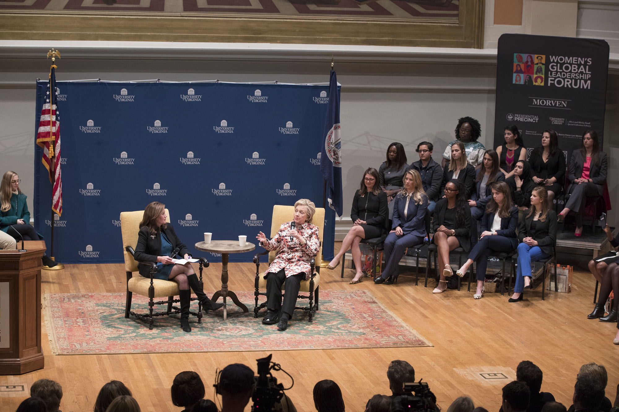 First Lady Dorothy McAuliffe moderates a discussion with Secretary Clinton. Photo courtesy of  UVA Today .